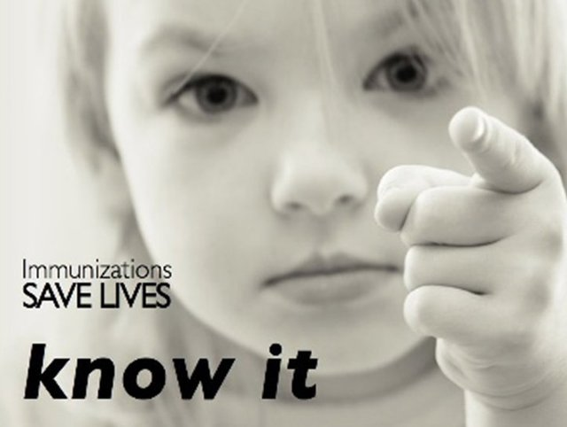 Image: Young girl pointing finger towards you Text: Immunization Saves Lives - Know It
