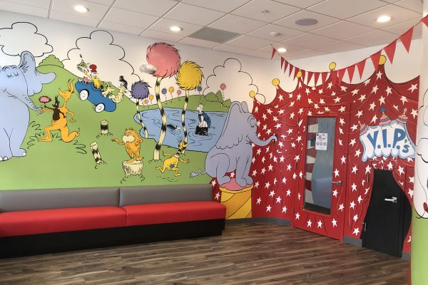 Image: Photo of the waiting room of 210 location, Dr. Seuss theme